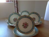 4 WEDGWOOD turquoise Runnymede soup cups with under plates
