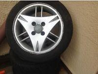 Set of alloy wheels 3 tyres 195/50/15