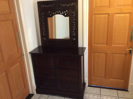 Chest of drawers and wall mirror