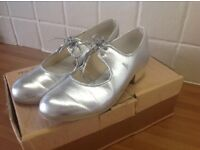 Silver tap shoes size 2
