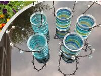 5 outdoor/indoor coloured glass tealight candle holders