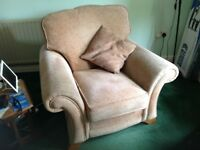 3-piece Alstons suite. 2-seater settee & 2 armchairs. Fabric. Brownish colour.