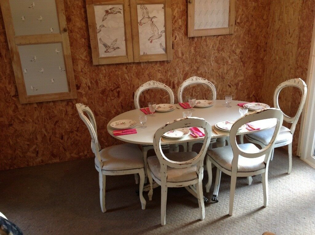 Painted chic dining table 6 six chairs laura Ashley ...