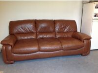 Brown leather sofa and armchair in good condition. Collection only.