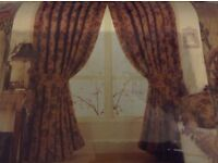 "Ready made floral heavy pencil pleat lined curtain 90""x90"""