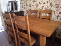 Dining table solid wood plus 4 chairs