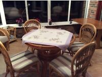 Wicker type table and four chairs