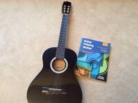 Ashton 3/4 black guitar, TGI padded bag, book, stand and tuner