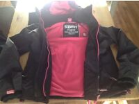 Superdry jacket XL with pink fleece lining.