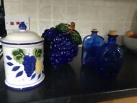 Collection of decorative storage jars/containers for kitchen