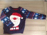 2-3 year SANTA Christmas jumper £1 HAROLD HILL