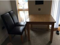 Table +4chairs two torn see photos, smokefree house collection ,hence price , solid wood