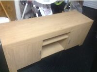 Light Oak Storage Media Cabinet, cupboard both ends. Good condition