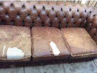 Vintage Retro Antique Brown Leather Chesterfield Sofa Settee Chair