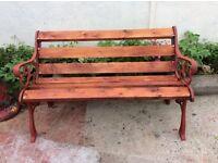Decorative cast iron garden bench. 6 new wooden slates. Brass screws 4ft3 inch wide x 18 inch depth.