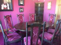 Ercol Dark Woood Dining Table & Chairs ,Corner Unit,Side Board.