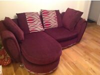 Purple sofa and spin chair