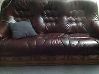 Oak and leather sofas for sale