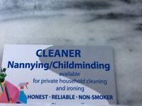 AVAILABLE CHILDMINDING/CLEANING/IRONING