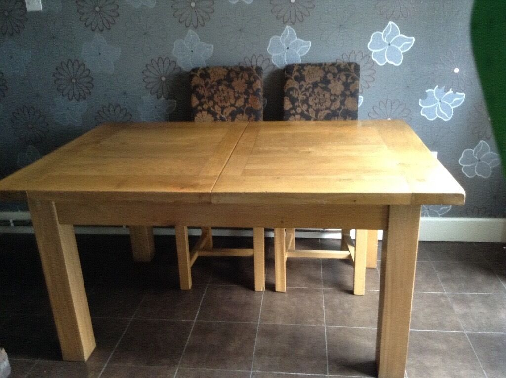 Large Solid reclaimed oak dining table and six chairs