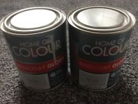 2 tins of grey gloss paint