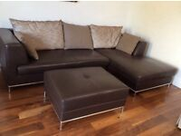 Italian chic brown L sofa with footstool, modern style