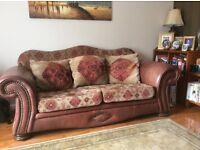 tetrad style leather and fabric three seater sofa