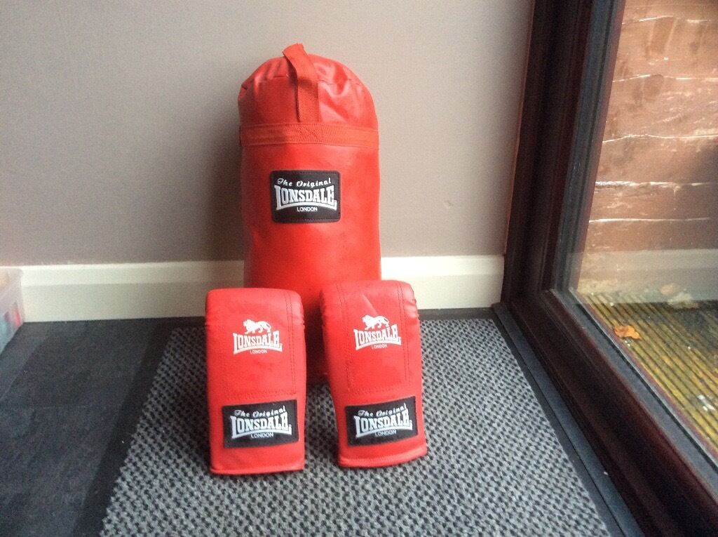 Lonsdale punch bag and gloves