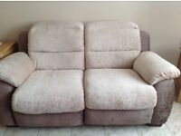 2 - two seater electric recliner sofas & 1 manual recliner armchair