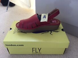 Fly sandals, in red, size 5 brand new!