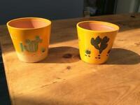 X2 hand painted ceramic plant pots set