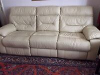 3-seater leather sofa with reclining seats