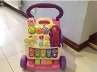 Baby walker vtech pink and purple first steps