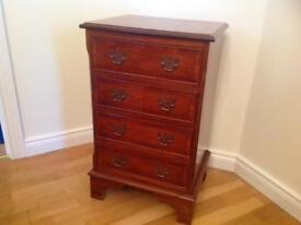 Yew finish chest of drawers