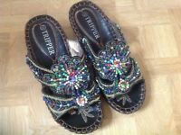 STUNNING BEADED WOMEN'S SANDALS BY TRIPPER. USED, EXCELLENT CONDITION.
