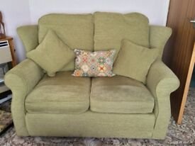 Small Sofa made by Devonshire Sofas in Budleigh Salterton. Pale green Chenille fabric.
