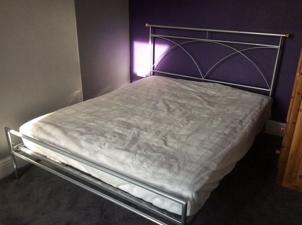 Modern double bed frame with mattress