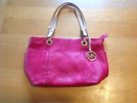 Genuine Michael Kors pink leather tote bag