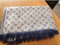 Louis Vuitton Light Blue Cotton Pashmina