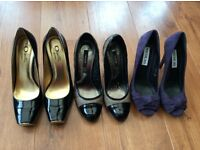 3 pairs of ladies designer shoes ogetti jaeger and Nicolas size 39 and 38