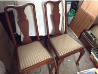 Pair of hardwood dining chairs