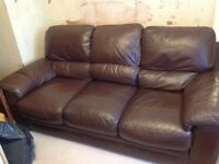 Leather brown sofa and chairs