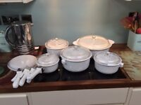Pure White Saucepan and Casserole Set, made in France by Acroflam. All with glass and plastic lids