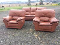 3 piece tan leather suite for sale