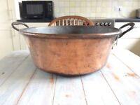 Vintage French Copper Jam Saucepan
