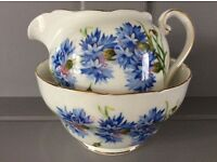 Royal Adderley ' Cornflower' Milk Jug and Sugar Bowl