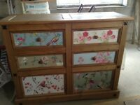 Mexican pine chest of drawers decorated