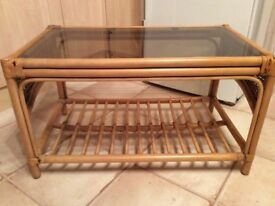 Glass Top Cane Coffee Table