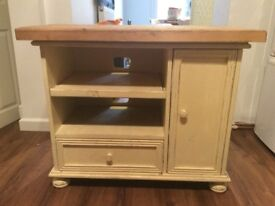 Painted wood shabby chic cabinet, cream with exposed wood surface
