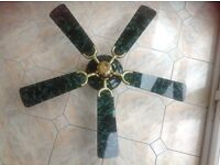 Fantasia Ceiling Fan in dark green marble effect